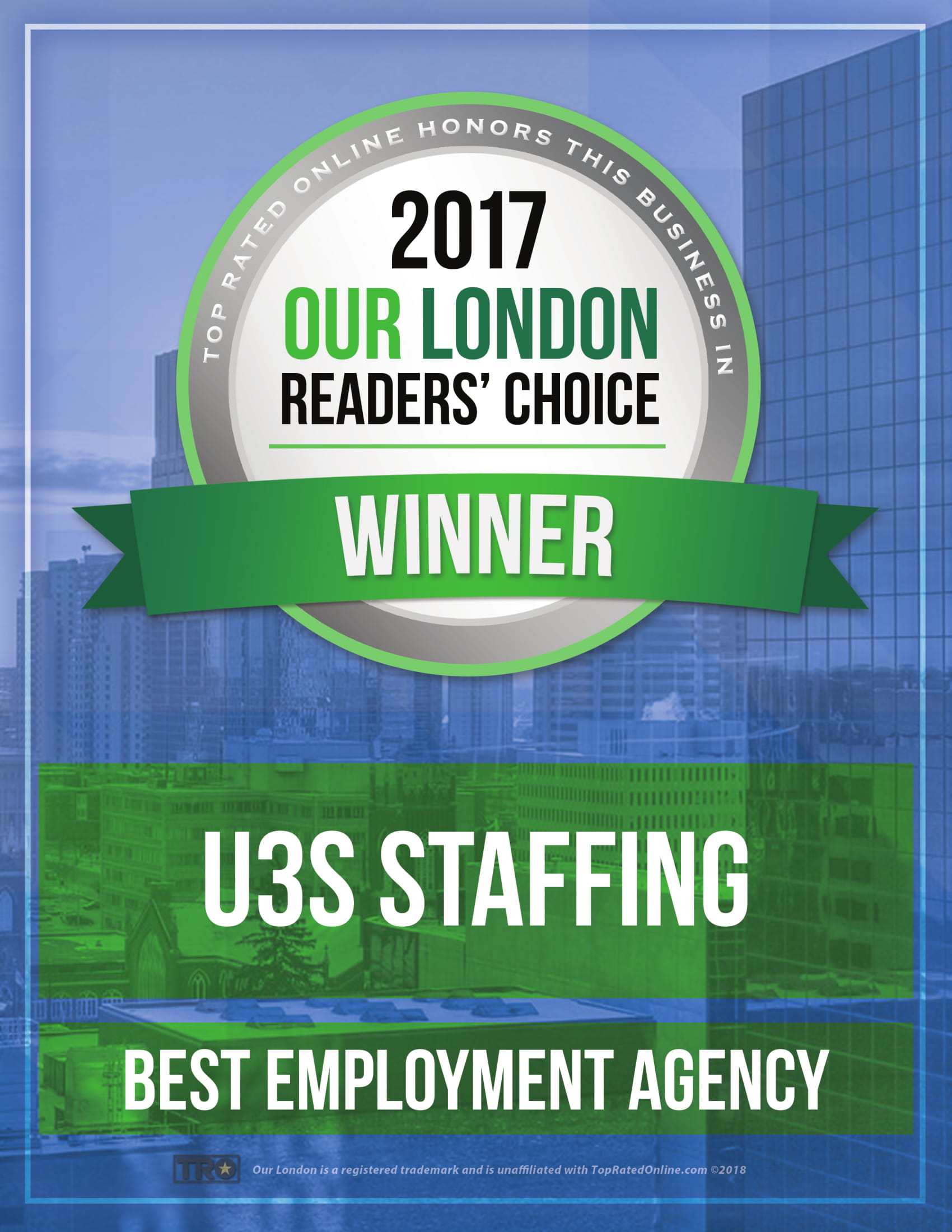 U3S Staffing Readers Choice Award. Best Employment Agency London Ontario